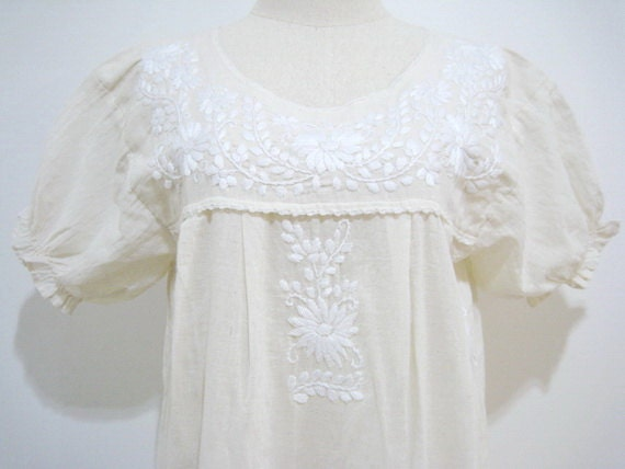 Mexican Hand Embroidered Natural Cotton Puff Sleeves Dress