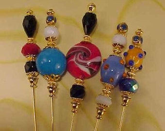 5 Diff Hatpins LAMPWORK 6 inches long. .We sell hat stick  pin blanks,make your own,findings supplies...S38