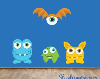 Monster Wall Decal, REUSABLE Childrens Fabric Wall Decal