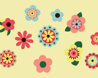 Flowers Wall Decal - Childrens Reusable Decal