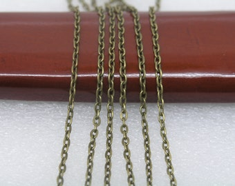32ft of 2x3mm Flat Link,Antique Brass Plated Iron Flat Cable Chain--Unsoldered