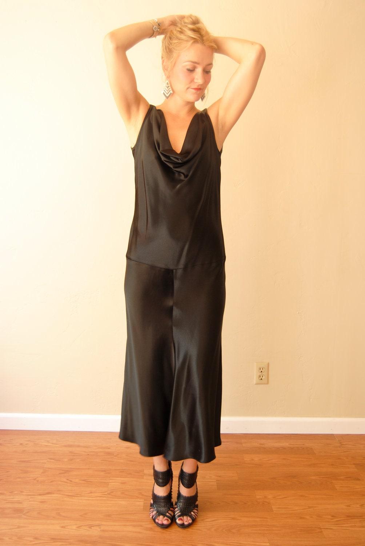 Vintage 20s 30s Style Dress Flapper Dress Black By
