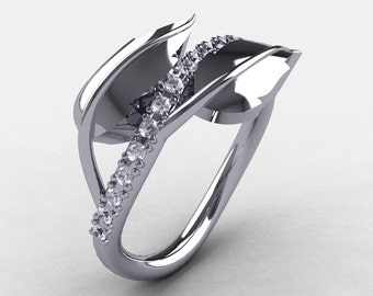 10K White Gold White Sapphire Leaf and Vine Wedding Ring, Engagement Ring NN113-10KWGWS