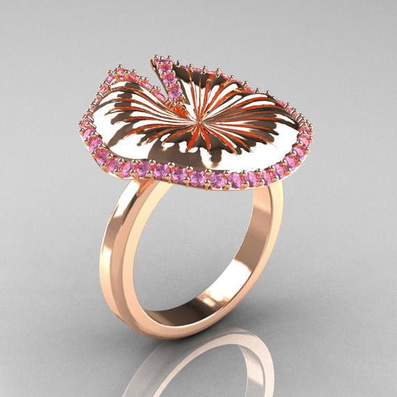 14K Rose Gold Light Pink Sapphire Water Lily Leaf Wedding Ring, Engagement Ring NN121-14KRGLPS