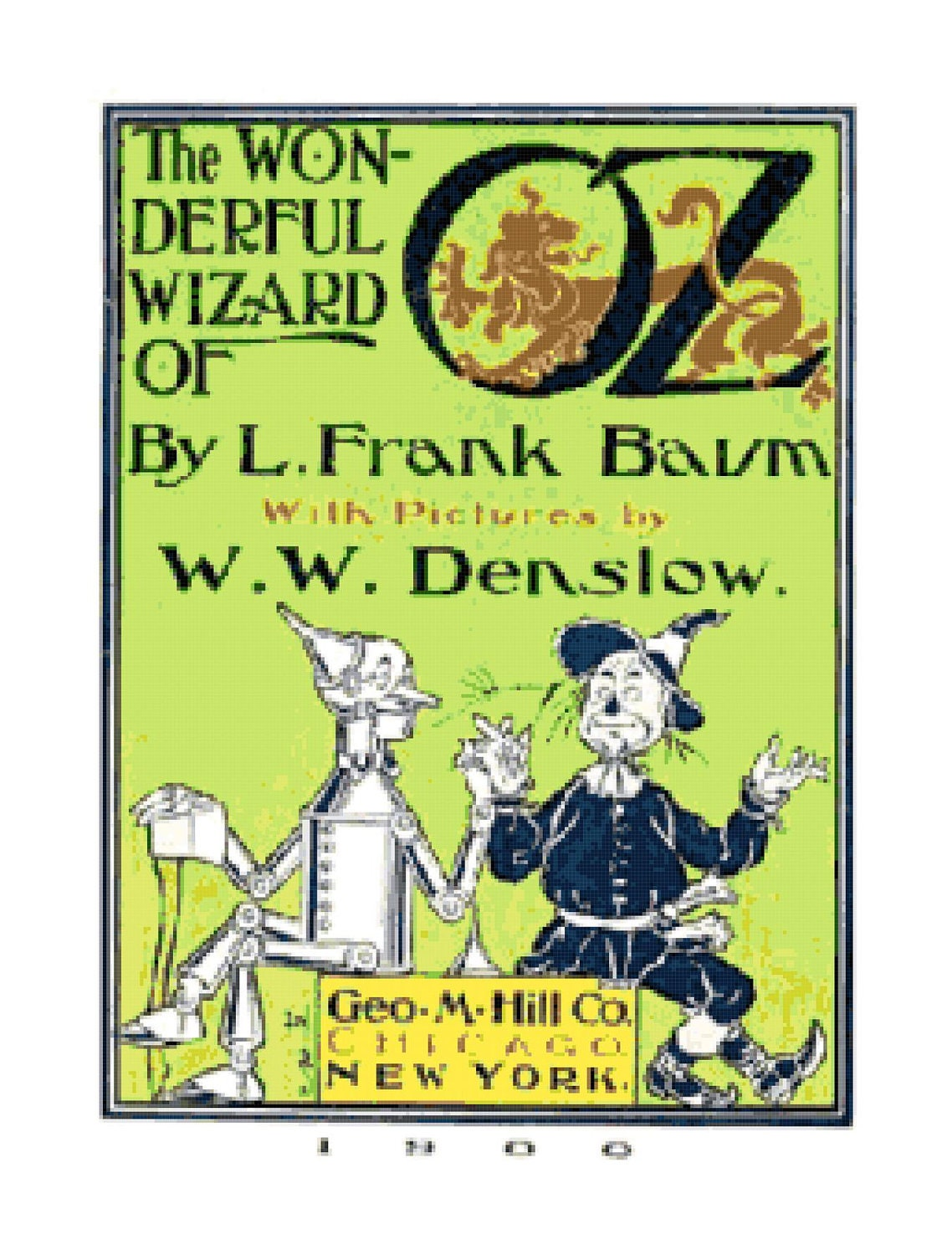Vintage Book Cover Pattern : Vintage wizard of oz book cover pdf cross stitch pattern
