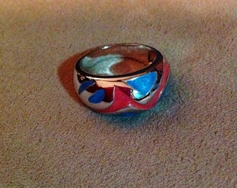 Vintage Sterling Silver Blue & Red Dome Ring