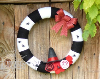 Halloween Bewitching Wreath, Black, White and Red, Autumn, Fall Hanging, Witch Door Decor, Witches, Spiders