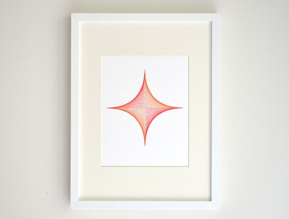 Geometric Embroidery - Parabolic Geometric Wall Art, Coral and Orange