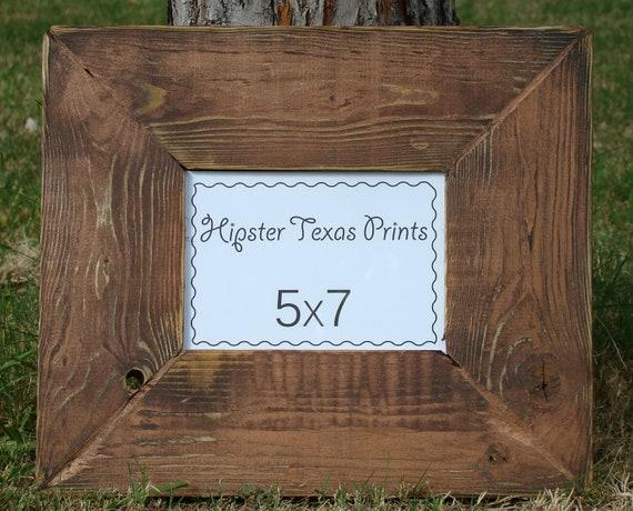 Rustic Home Decor - 5x7 Wood Photo Frame - Western, New Penny, Brown, Black, Handmade