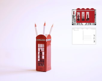 Set of 10 Red Telephone Kiosk / Box Postcard -  3D Model - Penholder