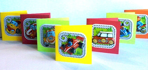 Lunchbox Notes, Mini Cards, For Boys, Cars and Motorcycles, Colorful Set of 8