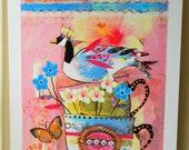 Home Bird Art print whimsical mixed media photography
