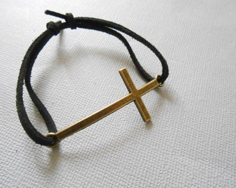 cross bracelet - Cross Charm bracelet - cross pendant - cross jewelry - suede strap - Charm bracelet - cross bracelet vintage