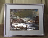 DUFEX PRINT Winter Scene/Country Village FJ Warren Ltd England