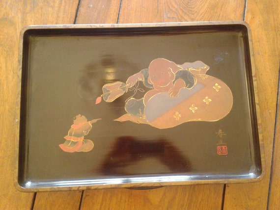 Japanese Vintage Black Lacquerware Hand painted Confucius Tea Tray: Signed Serving Tray for Mothers Day to Fathers Day zen decor