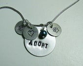 Adopt Necklace - Hand Stamped with Bead