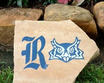 Rice University Hand Painted Decorative Yard Garden Rock