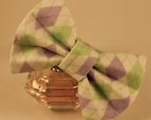 Mint and Lavender Argyle Bow