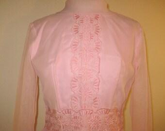 Flirty Vintage 1960s Pink Garden Party Hostess Dress