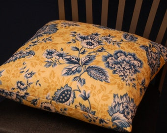 Blue Yellow White Print 16 Inch Throw Pillow Cover, Floral Accent Pillow, Damask Print