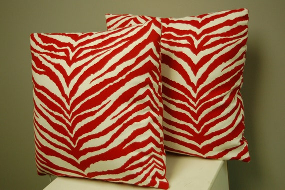 Red White Tiger Print Decorative Pillow Covers