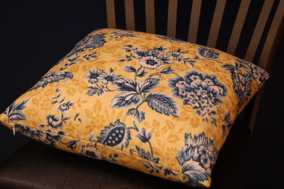 Blue Yellow White Print 16 Inch Throw Pillow Cover Floral
