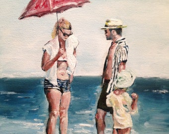 Red Umbrella at the Beach