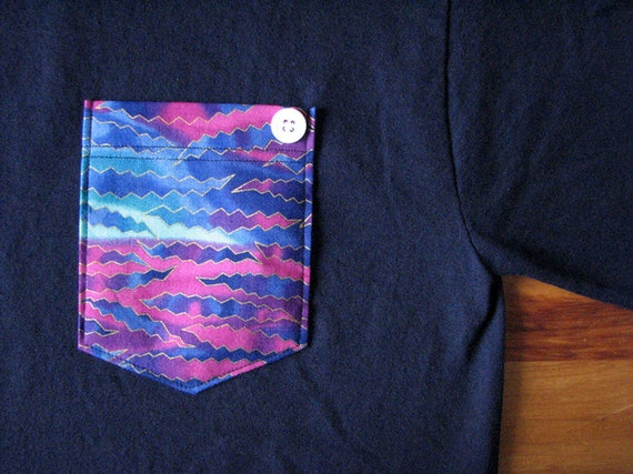 Pocket Tee Navy w/ Zig Zag (Small)