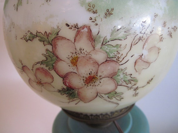 Vintage Floral Hand Painted Hurricane Lamp Fenton Glass Company