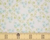 Riley Blake Vintage Baby Fabric  - 1 yard - Aqua Flower