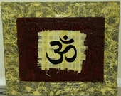 Buddhist Om ORIGINAL Mixed Media 8x10 inch (Outer Frame Dimensions10 3/4 x 12 3/4 inch)