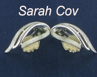 SARAH COV vintage silver tone STUNNING clip back earrings patent pending