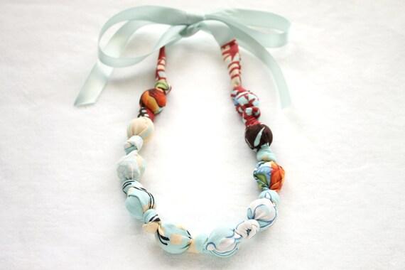 Fabric Necklace, Chomping, Nursing, Teething Necklace - Blue Kimono