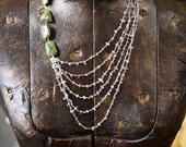 Multi-Stranded Asymmetrical Vesuvianite and Labradorite Necklace