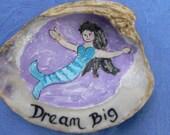 Mermaid Decorative Art painted sea shell art inspirational word Dream Sally Tia Crisp
