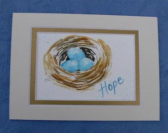 "Spring Sale Robin Easter Egg Blue Bird Nest Spring Art by Sally Tia Crisp Original Watercolor 5"" x 7"" matted"