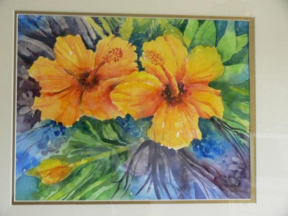 "Tropical Tangerine Orange Hibiscus Print Watercolor Botanical 8.5"" x 11""  by Sally Tia Crisp"