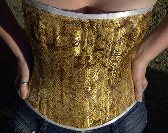 Handmade Custom Closed Front Buskless Smooth Overbust Brocade Corset