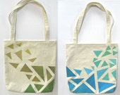SALE! Hand Painted Tote Bag Eco Friendly / Reusable Shopping Bag / Grocery Bag Triangles Olive Green Mustard Blue Aqua Teal Mint Green
