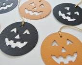 Halloween Favor Tags Paper Jack-o-lantern, Halloween Party Goody Bag Gift Tags, Halloween Paper Pumpkin Cut Outs, Orange and Black Set of 12