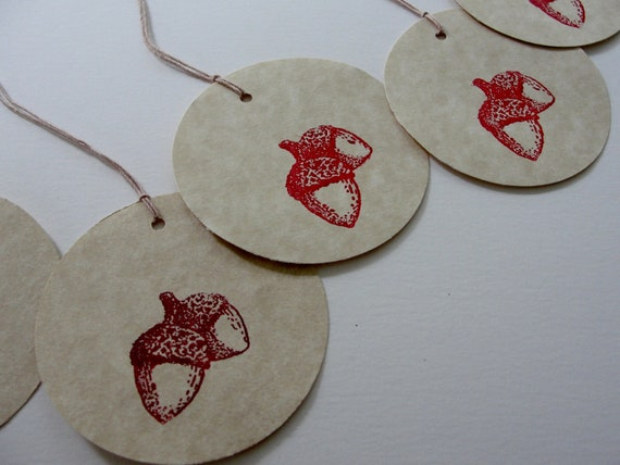 Autumn Fall Red Maroon Acorn Gift Tags, Hand Stamped Round Paper Cut Outs, Fall Birthday Shower Wedding Gift Tags, Set of 12