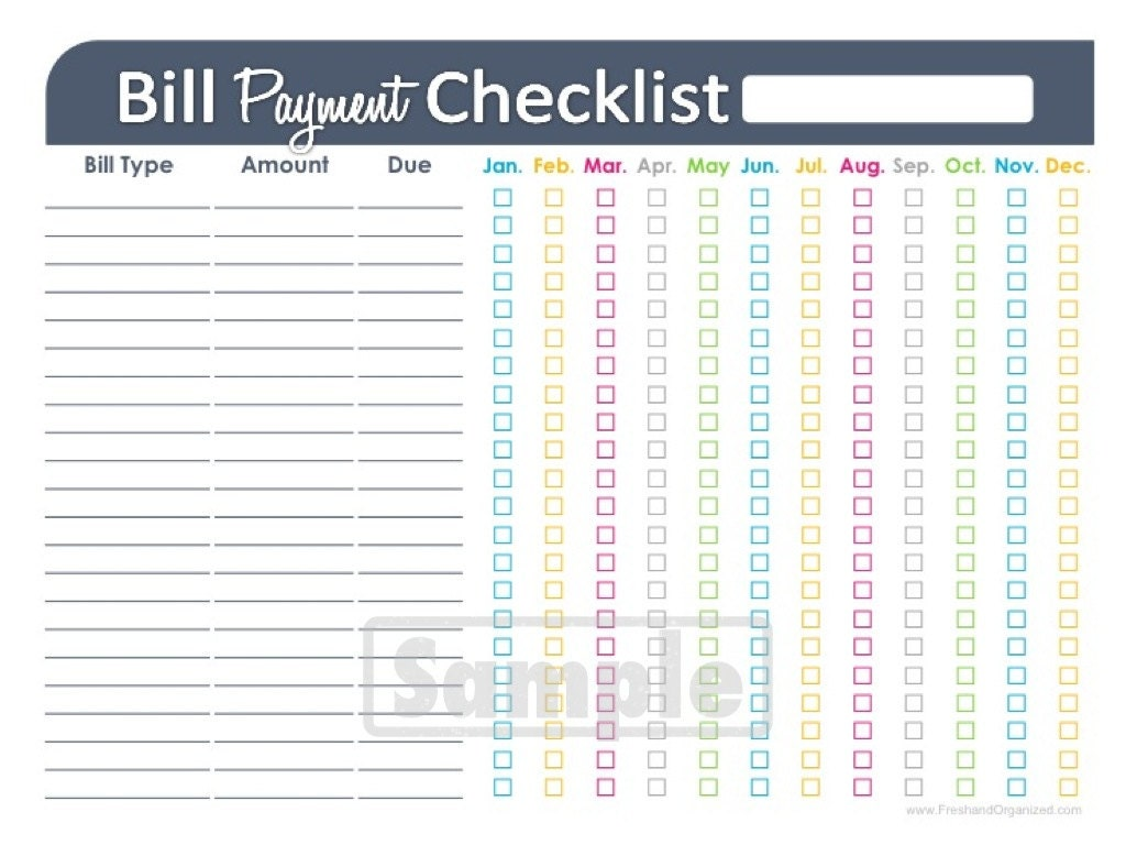 Bill Payment Checklist Printable EDITABLE by FreshandOrganized