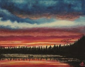 """Original oil painting """"Fishing in the sunset"""" (11""""x14"""")"""