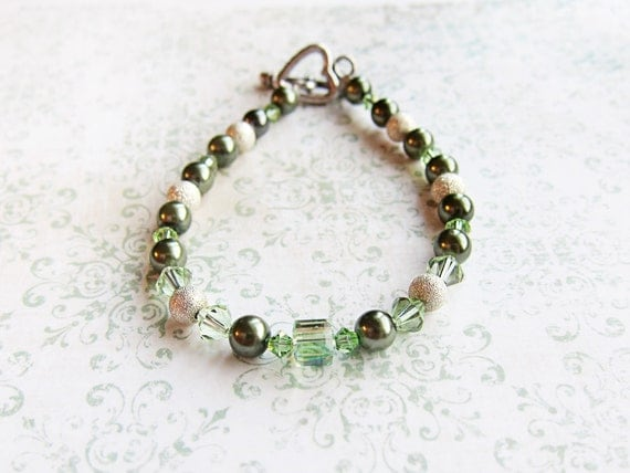 SALE ITEM 20% OFF, Tinkerbell Bracelet, Jewelry Green Pearl and Stardust Rounds with Green Swarovski Crystal Bicones and Cube Bracelet