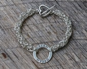 Chainmaille Hand Woven Sterling Silver Byzantine Stamped Dream Circle Eco-Friendly Bracelet: Yoga Jewelry Vegan Jewelry Shanti Ahimsa Mantra