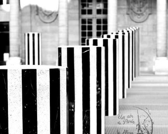 Black and white Photography/Paris Photography/paris decor/white stripes/Colonne de Buren/paris print/paris artwork/paris wall decor