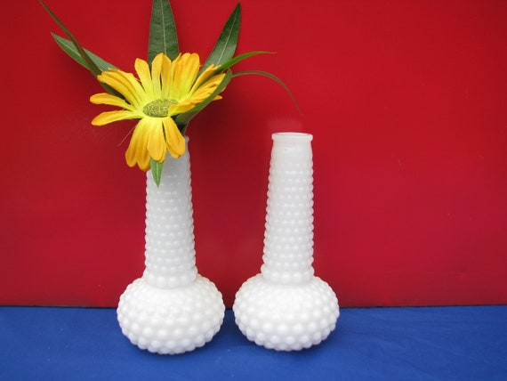 White Glass Vase Vintage Milk Glass Hobnail pair 1960's