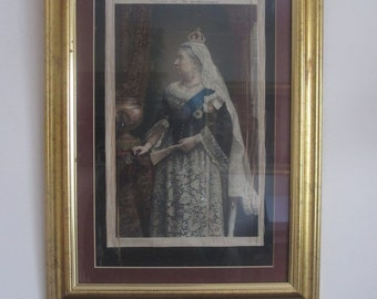 Rare Antique Queen Victoria Picture presented with the gentlewoman woven print In memory of Queen Victoria