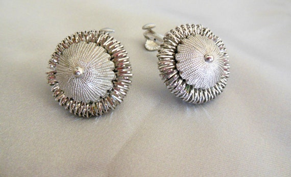 Coro Earrings Silver Toned Ruffle Clip Ons