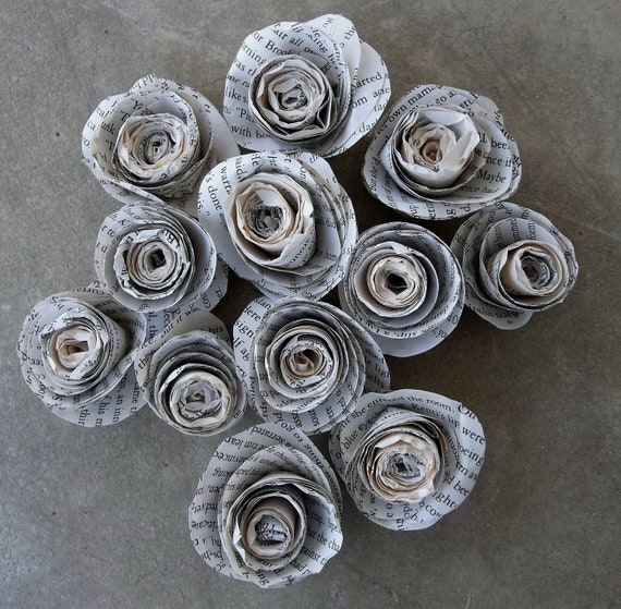Paper Roses Made From Pages of an Old Novel--lot of 12